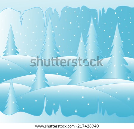 New year vector background with snow covered winter forest and icy icicles - stock vector