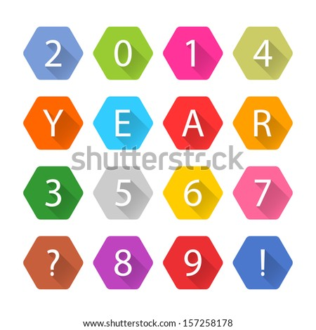New Year 2014 white title text. Figures 1, 2, 3, 4, 5, 6, 7, 8, 9, 0. Flat sexangle icon blue, brown, cobalt, gray, green, indigo, magenta, orange, pink, purple, red, violet, yellow colors. Vector eps - stock vector