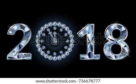 New 2018 year with diamond clock, banner, vector illustration