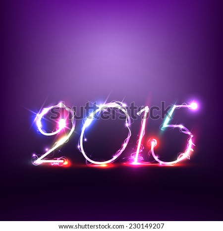 New Year 2015 with lights.