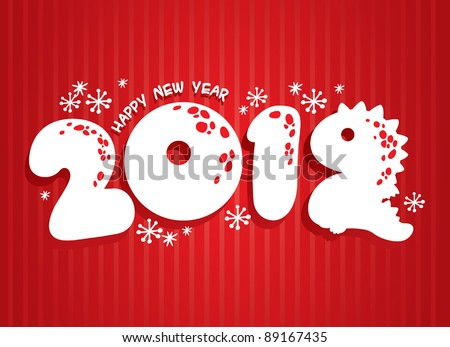 New Years card 2012 with dragon - stock vector