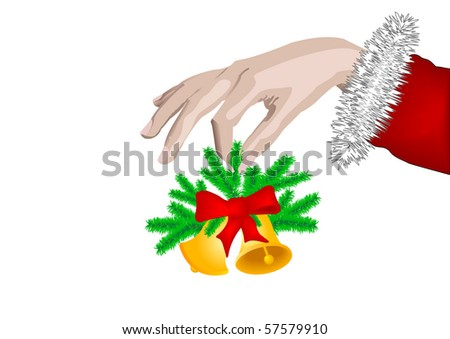 New years Hand of the person two Christmas hand bells with a red tape on green fur-tree branches  on isolated white background