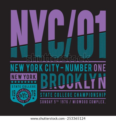 New York athletic  sport typography, t-shirt graphics, vectors - stock vector