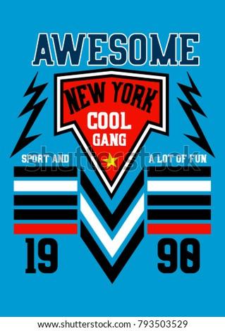 New York Awesome Cool Gangtshirt Print Stock Photo Photo Vector