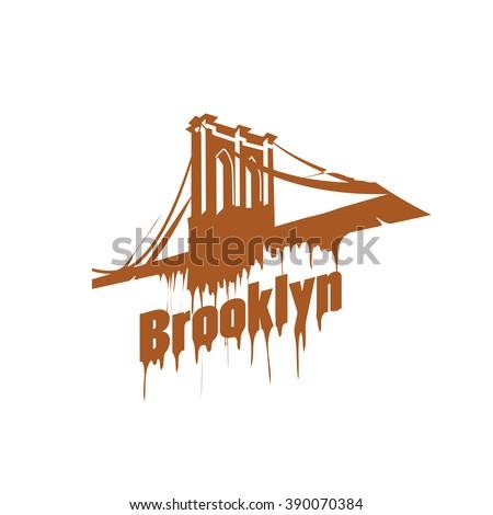 New York  Brooklyn Bridge Design emblem. Graffiti style - stock vector