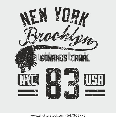 New york brooklyn lions graphic design vector art