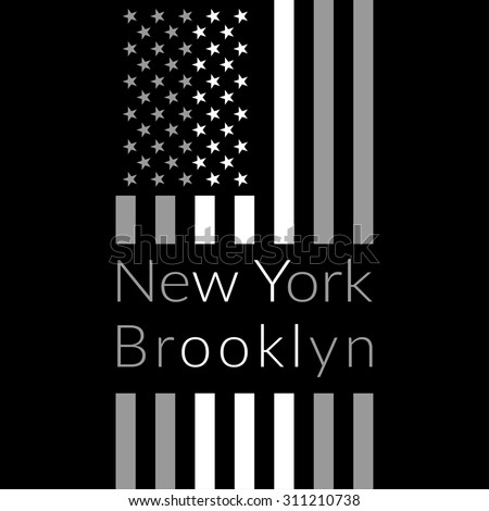 New York Brooklyn Typography on black background with american flag. Sport T-shirt fashion graphics. Design Print for sportswear apparel. Original wear. Vector illustration - stock vector