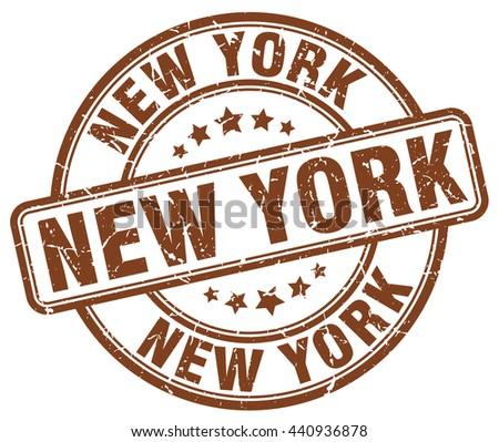 New York brown grunge round vintage rubber stamp.New York stamp.New York round stamp.New York grunge stamp.New York.New York vintage stamp. - stock vector