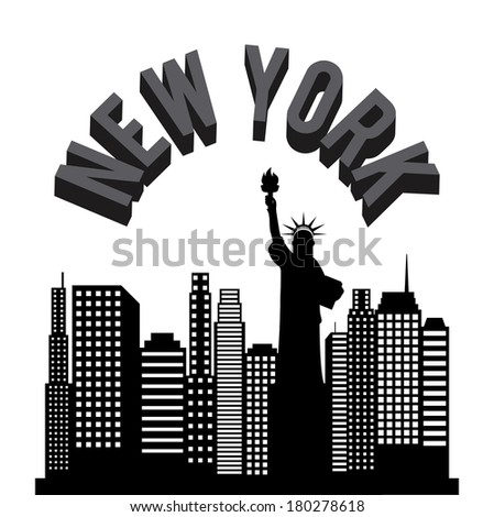 New york Buildings with statue of liberty on background