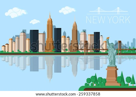 New York city architecture vector illustration. Skyline - stock vector
