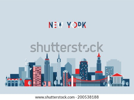 New York city architecture vector illustration, skyline city silhouette, skyscraper, flat design - stock vector