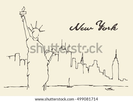 new york city architecture with statue of liberty on front vector illustration hand drawn