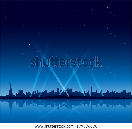 New York city at night copyspace background - stock vector
