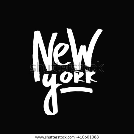 New York city. Black and white lettering. Decorative letter. Hand drawn lettering. Quote. Vector hand-painted illustration. Decorative inscription. Font, motivational poster. Vintage illustration.  - stock vector