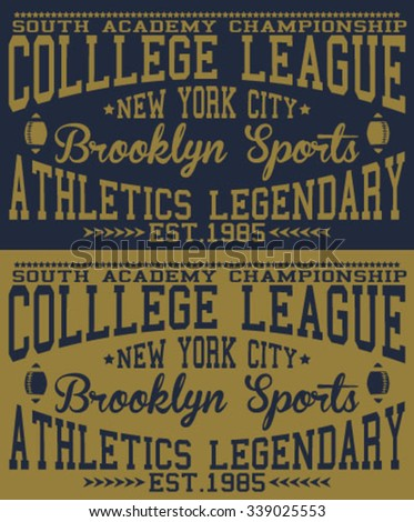 new york city - brooklyn college league typography, t-shirt graphics, vectors