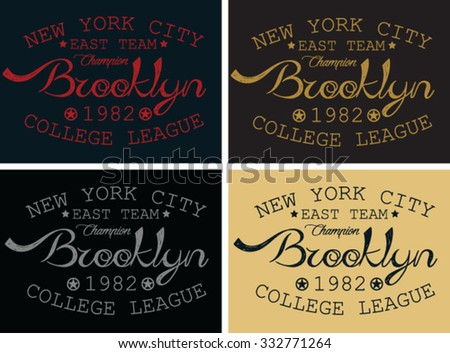 new york city graphic design, brooklyn t-shirt design - stock vector