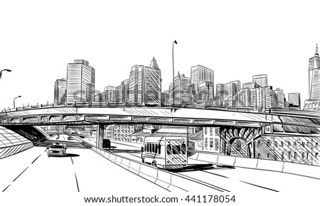New York City hand drawn unique perspectives, vector illustration