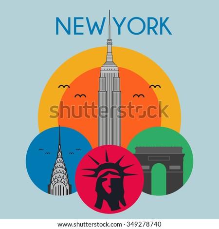 New York City Landmarks, icons USA, flat design, colorful vector illustration - stock vector