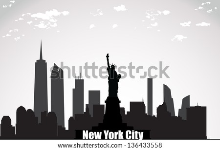 New York City landscape - stock vector