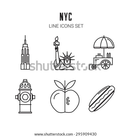 New York City. Line icons set. Vector eps 10 - stock vector