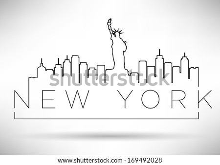 New York City Line Silhouette Typography Design - stock vector