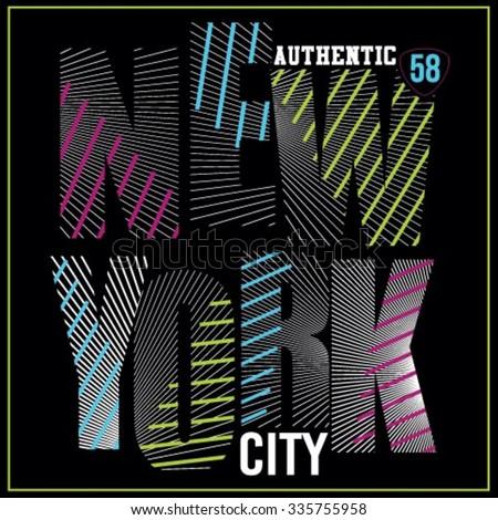 New York City neon typography, t-shirt graphics, neon high light vectors - stock vector