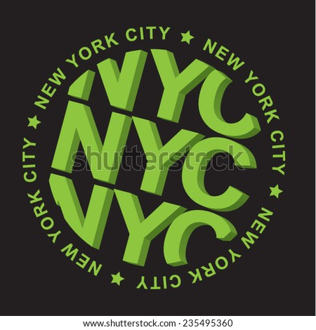 New York city NYC typography, t-shirt graphics, vectors - stock vector