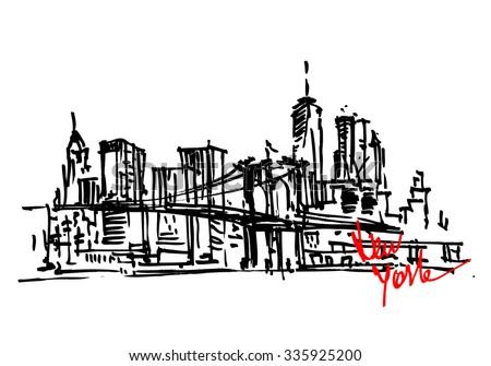 New York city panorama. Brooklyn Bridge. City skyline hand drawn, sketch - stock vector