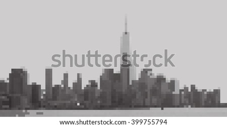New York City. Panorama from Hoboken. Monochrome pixels picture - stock vector
