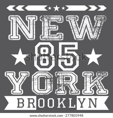 New York City retro vintage typography poster, t-shirt Printing design, vector Badge Label. - stock vector