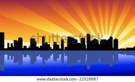 New York City Skyline - stock vector