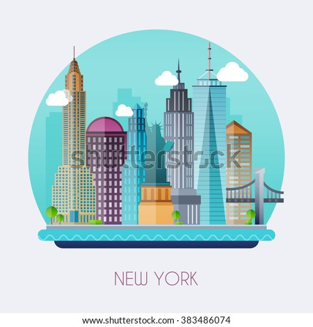 New York City. Skyline and vector landscape of buildings and the Statue of Liberty. Vector illustration. - stock vector