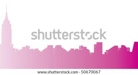 New York City skyline. Gradient vector illustration. - stock vector