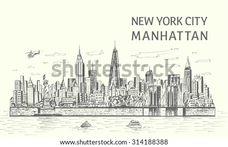 New York City skyline hand drawn sketch style,isolated illustration - stock vector