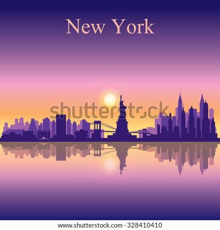 New York city skyline silhouette background, vector illustration - stock vector