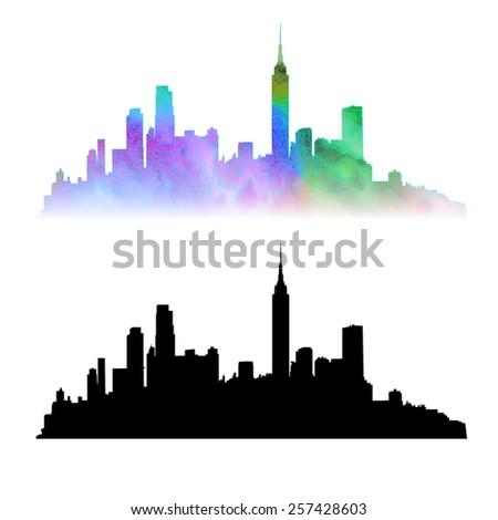 new york city skyline vector silhouettes stock vector 257428603 rh shutterstock com nyc skyline vector free nyc city skyline vector