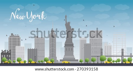 New York city skyline with blue sky, clouds and yellow taxi. Business travel and tourism concept with place for text. Image for presentation, banner, placard and web site - stock vector