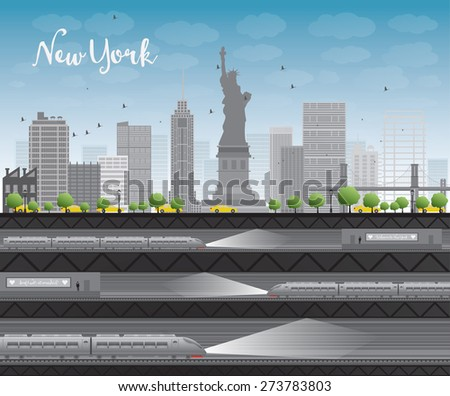 New York city skyline with blue sky, clouds, yellow taxi and train Vector illustration. Business travel and tourism concept with place for text. Image for presentation, banner, placard and web site