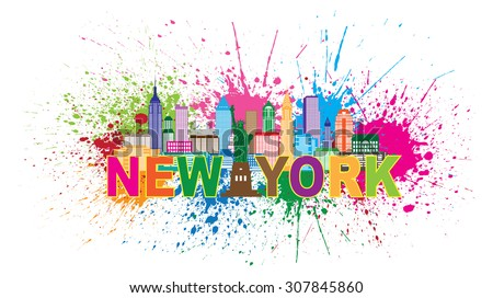 New York City Skyline with Statue of Liberty Abstract Paint Splatter Colorful Text Vector Illustration - stock vector