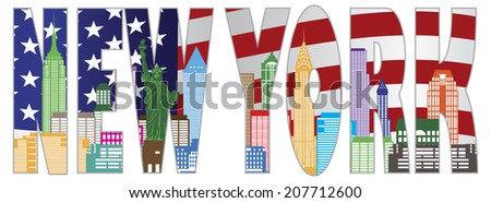 New York City Skyline with Statue of Liberty and American Flag Text Outline in Color Vector Illustration - stock vector