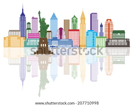 New York City Skyline with Statue of Liberty Color with Reflection Vector Illustration - stock vector