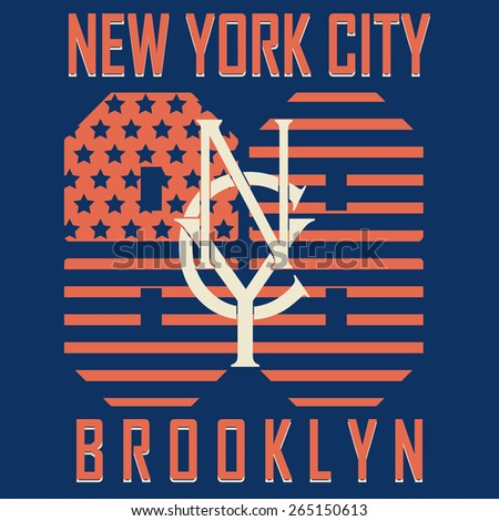 New York City Sport Typography Graphics Label. T-shirt Printing Design, Brooklyn original wear - vector illustration