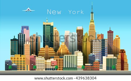 New York city. Stylized vector illustration of a city - stock vector
