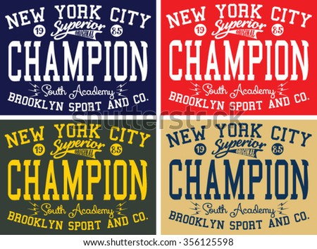 New York City Superior - Brooklyn Sport  vector print and varsity. For t-shirt or other uses in vector.T shirt graphic