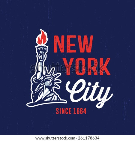 New York City 1664 T shirt apparel fashion design. Liberty Statue Vector Illustration and American Flag Background. Vintage Retro NYC Print Poster. Travel Souvenir Idea.  - stock vector