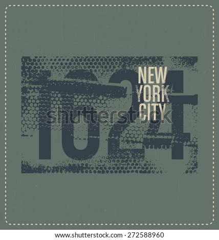 New York City 1624 - Typographic Design - Classic look ideal for screen print shirt design - stock vector
