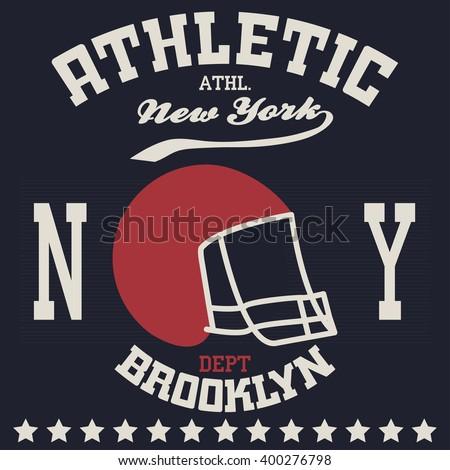 New york city typography American football, t-shirt graphics Brooklyn - stock vector