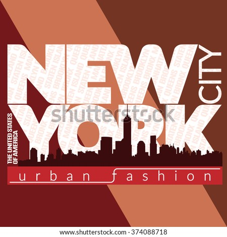 New York city Typography Graphic. Skyline Manhattan. Fashion stylish printing design for t shirt and sports wear. NYC logo. Label USA. Symbol of freedom. For apparel, card, poster. Vector illustration - stock vector
