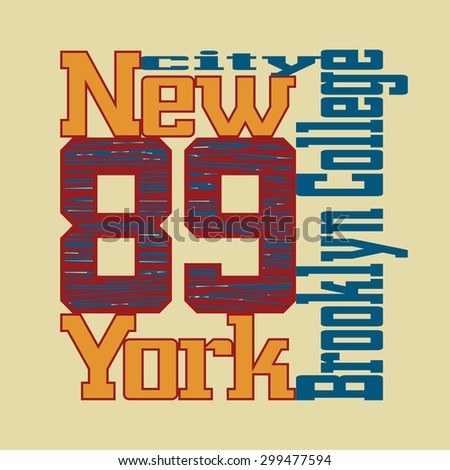 New York City Typography Graphics. Athletic T-shirt fashion graphics. Design Print for sportswear apparel. NYC original wear. Vector illustration - stock vector