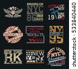 New York City Typography Graphics logo set, T-shirt Printing Design; NYC original wear, Vintage Print for sportswear apparel.